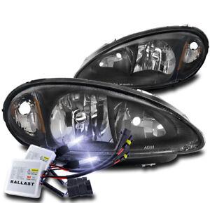 FOR 01-05 CHRYSLER PT CRUISER REPLACEMENT HEADLIGHTS LAMP BLACK W/10000K HID KIT
