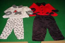 Two Vintage Baby Sets Scotty Dog Motif Appliques/Prints 12 Mo And 0-6 Mo~Nice