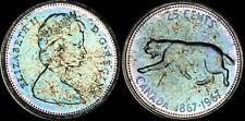 1967 CANADA COUGAR 25 CENTS SILVER HIGH QUALITY COLOR TONED COIN