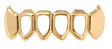 Hip Hop 14K Gold Plated Mouth Teeth Grillz Bottom Lower Open Face Fangs 4OF