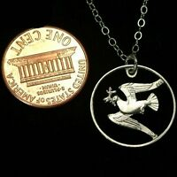 Bird Peace Dove Cut Out Hungarian Hungary Coin on Sterling Silver Necklace