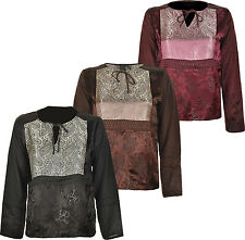 Womens Long Sleeve Designer Top V Neck Embroidery And patch work