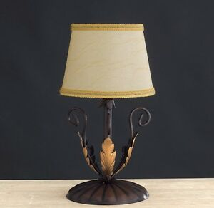 Lumetto Lamp Support Classic Wrought Iron Lamp Shades Leaves Gold Art Povera