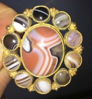 Antique Victorian Scottish Banded Agate Gold Gilt Brooch Pin 1800s 19th Century