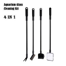 4in1 Aquarium Glass Cleaner Tool Kit Gravel Fork Net Sponge For Fish Tank Clean