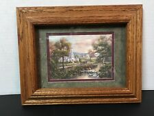 COUNTRY CHURCH SCENIC PICTURE MATTED WOOD FRAME