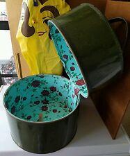 Vintage wig hat box green patent leather Floral liner hippie zipper retro lot