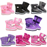 GIRLS WINTER KIDS FUR SNOW BOYS MUCKER WATERPROOF WELLINGTON WELLIES BOOTS SHOES