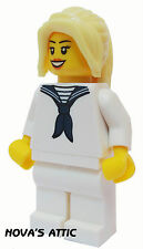 LEGO FILLE MATELOT FÉMININ AVEC BLOND LONG QUEUE DE CHEVAL MINIFIGURE - NEUF