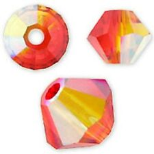Swarovski Crystal Bicone Fire Opal AB Color. 6mm. Approx. 48 PCS. 5328