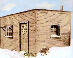 """HARLEY DAVIDSON MOTORCYCLE FACTORY 1903 8x10"""" HAND COLOR TINTED PHOTOGRAPH"""