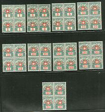 SWITZERLAND #J35-43 Postage Due set Blocks of 4 NH