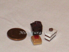 3 Pasteles en fimo miniatura 1/12 casas muñecas
