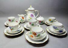 (G6153) Meissen 21-tlg. Espresso-,Mokkaservice, Blumemalerei, Goldrand
