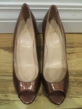 Christian Louboutin Peep Toe Brown Metallic Bronze Wedges Pumps Shoes sz. 40.5