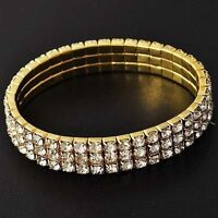 Women Yellow Gold Filled bling bling 3 Row Clear Crystal Stretch Tennis Bracelet