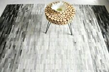 Leather Carpet Rug Patchwork New 7 x 5 Geometric Contemporary Modern Stripes
