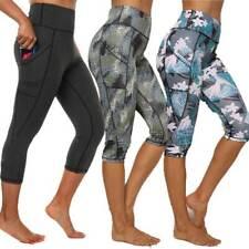 Womens Push Up 3/4 Capri Leggings Pockets Gym Fitness Sports Cropped Yoga Pants