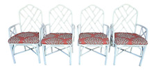 (4) McGuire Chippendale Style Coastal MCM Bamboo Rattan White Dining Armchairs