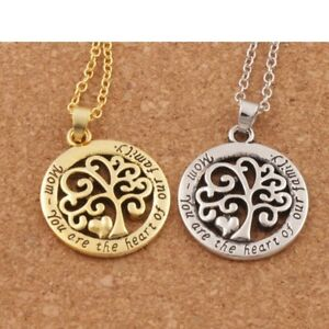 Mom You Are The Heart Of Our Family Tree Of Life Mothers Day Mum Gift Silver/18K