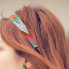 Femme Bandeau Bande Cheveux Serre-tête Tissu Rayé Style Ethnique Accessoire Mode