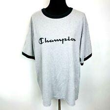 Vintage Champion T Shirt Spellout size XL Mens Ringer Gray Blue Streetwear
