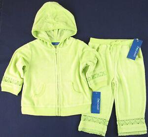 NWT Greendog Girl's Light Chartreuse Terrycloth Hoodie & Pants Set, 12M or 18M