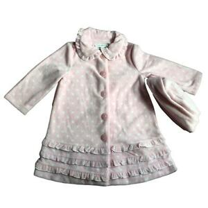 Bonnie Jean Girls Baby Polka Dot Fleece Coat and Hat Set, Pink and White
