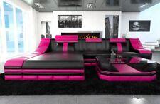 Ecksofa Luxus Ledersofa TURINO L Form mit LED Beleuchtung Eckcouch schwarz- pink
