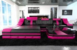 Ecksofa Luxus Ledersofa TURINO L Form mit LED Beleuchtung Eckcouch Schwarz Pink