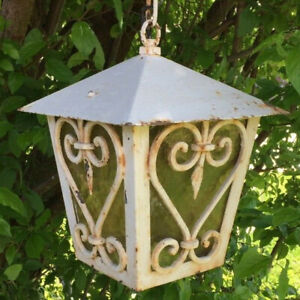 Fabulous 19th cent FRENCH Antique Hd WROUGHT IRON LANTERN SHABBYCHIC White Paint