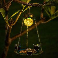 Solar Bird Feeder Outdoor Solar Powered Garden Light for Yard Garden Outside