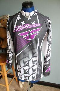 Fly Racing Motocross Long Sleeve Gray/White/Purple Shirt ~S~