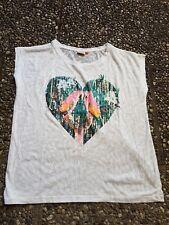 Shirt T-shirt Top OMLY Gr. L weiß Süss mit Papagei  Oberteil Sommer leicht lufti
