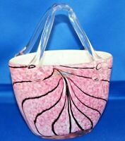 Beautiful Laguna Art Glass Handbag Designer Vase Pink with Black Detailing