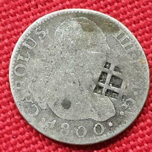 TRINIDAD - VIQUE - CAROLUS IIII - 2 REALES- YEAR 1800- COUNTEMARK  LATICE