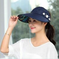Sun Visor Hat Cap Summer Women Wide Brim Beach Protection Foldable Plain Pearl