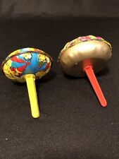 Vintage 1960s tin Us Metal Toy New Years Eve party noisemaker shaker clicker Lot