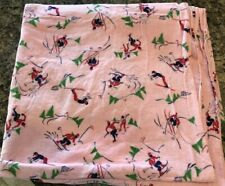 "35"" x 107"" Vtg Pink Cotton Flannel Fabric 1940s SKIERS TREES Pink Novelty"