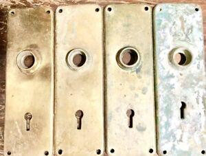 "4 Antique Cast Bronze Door Plates ""Concord"" pattern Reading Hardware ca 1899"