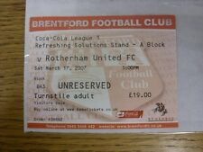 17/03/2007 Ticket: Brentford v Rotherham United  (folded). Any faults with this