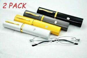 2 Pack Slim Mini Metal Reading Glasses Reader Spectacles +1.0 to +4.0 Utility