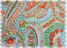 Liselotte Popeline weiß orange Baumwolle Webware 50 cm Blumenstoff Stoff nähen