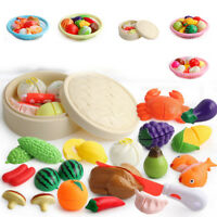 Cutting Fruit Vegetable Food Pretend Play Children Educational Toy Set For Kids
