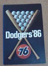 Los Angeles Dodgers pocket schedule 1986  spirt 76