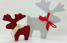 WHITE RED GLITTER REINDEERS DEER CHRISTMAS DECORATION SHABBY CHIC HOME