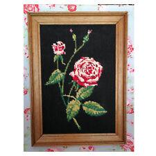 Vintage! Cadre Rose Fleur Point de Croix Canevas Tapisserie Broderie Kitsch 1960