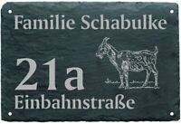 Schild Schiefertafel Türschild Ziegen ZIEGE Haustürschild Namenstafel Hausnummer