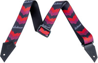 Genuine Jackson Logo Guitar Strap with Double V Pattern, Black/Red