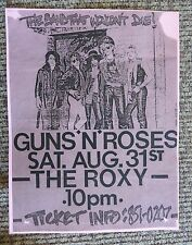 Guns & Roses Early Aug 21st 1985 The Roxy Concert Flyer Poster Copy Axl Slash #1